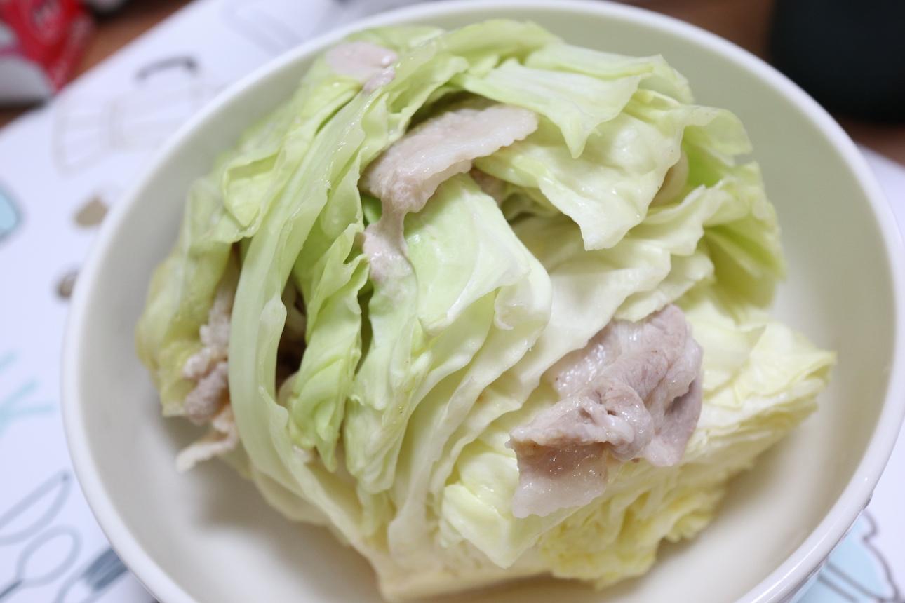 キャベツの豚肉はさみみそ風味煮